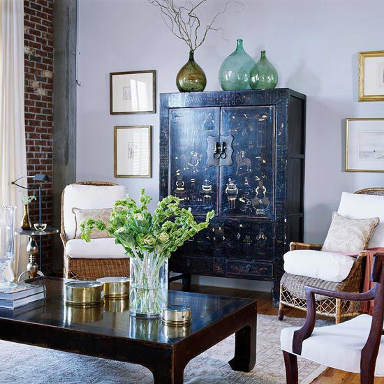 Opposites Attract in Interior Style  ......Beside tv cabinet....