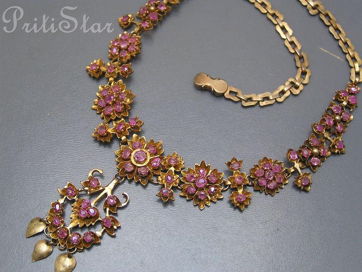 Antique Gilt silver / ruby necklace ~Sri Lanka