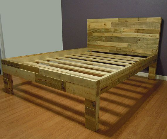 Reclaimed wood bed frame pallet bed sale twin size for Pallet king bed frame