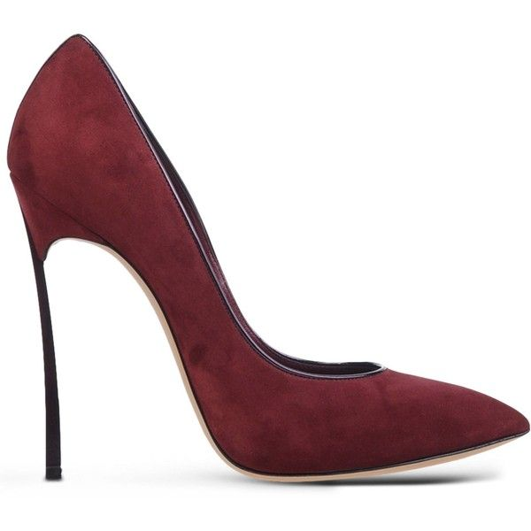 Casadei Closed-Toe Slip-Ons ($855) ❤ liked on Polyvore featuring shoes, pumps, heels, maroon, casadei shoes, real leather shoes, genuine leather shoes, closed-toe pumps and closed toe shoes