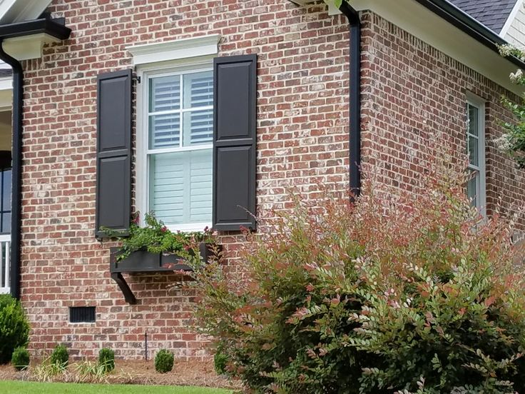 Andersonville brick with ivory mortar.(in Rhodes Farm) *real looking  shutter with hinges. *window flower box