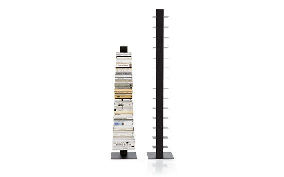 "The tall Sapien has 14 shelves, the short has 10. When fully loaded, the bookcase virtu¬ally disappears behind the books. All-metal construction and a heavy, weighted base ensure the design's strength and stability. Simple assembly required. Made in Italy. 79"" x 14"" x 14"" $298"