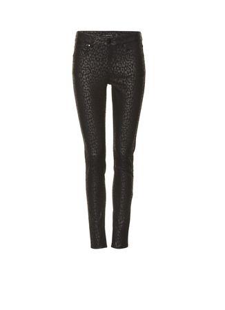 Karen Millen Gecoate slim fit broek met luipaardprint • de Bijenkorf