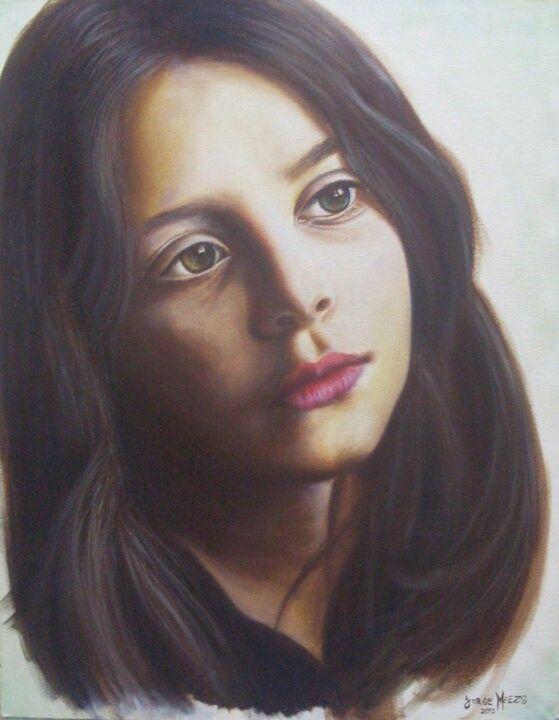 Oleo, retrato de niña