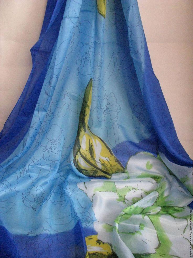 Купить Палантин шелк натуральный Белый цветок - палантин, палантин шелковый, палантин с принтом