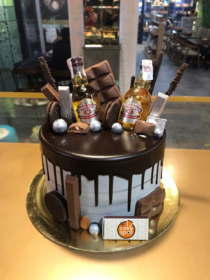 Alcohol Birthday Cake, Birthday Cake For Him, Birthday Cakes For Men, Chocolate Covered Treats, Chocolate Drip Cake, Cupcakes, Cupcake Cakes, Beer Bottle Cake, Liquor Cake