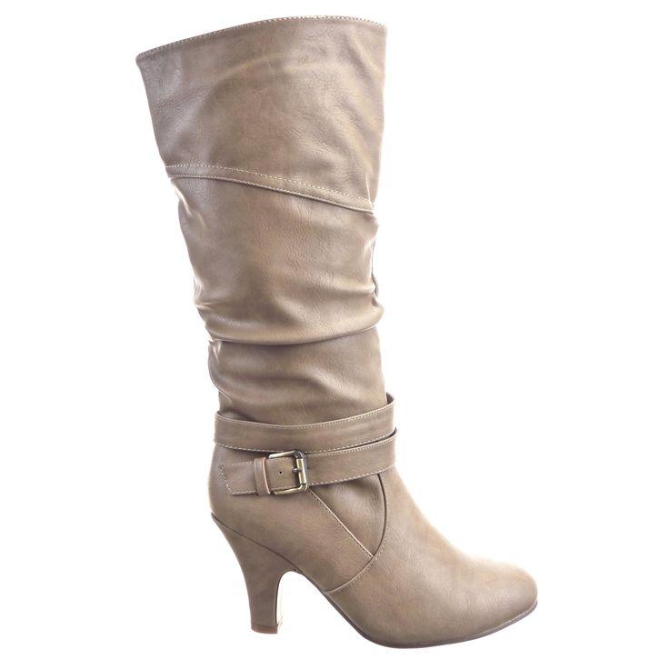 Sopily - Chaussure Mode Botte Western Genoux femmes boucle Talon haut cönique 9 CM - Khaki: Amazon.fr: Chaussures et Sacs