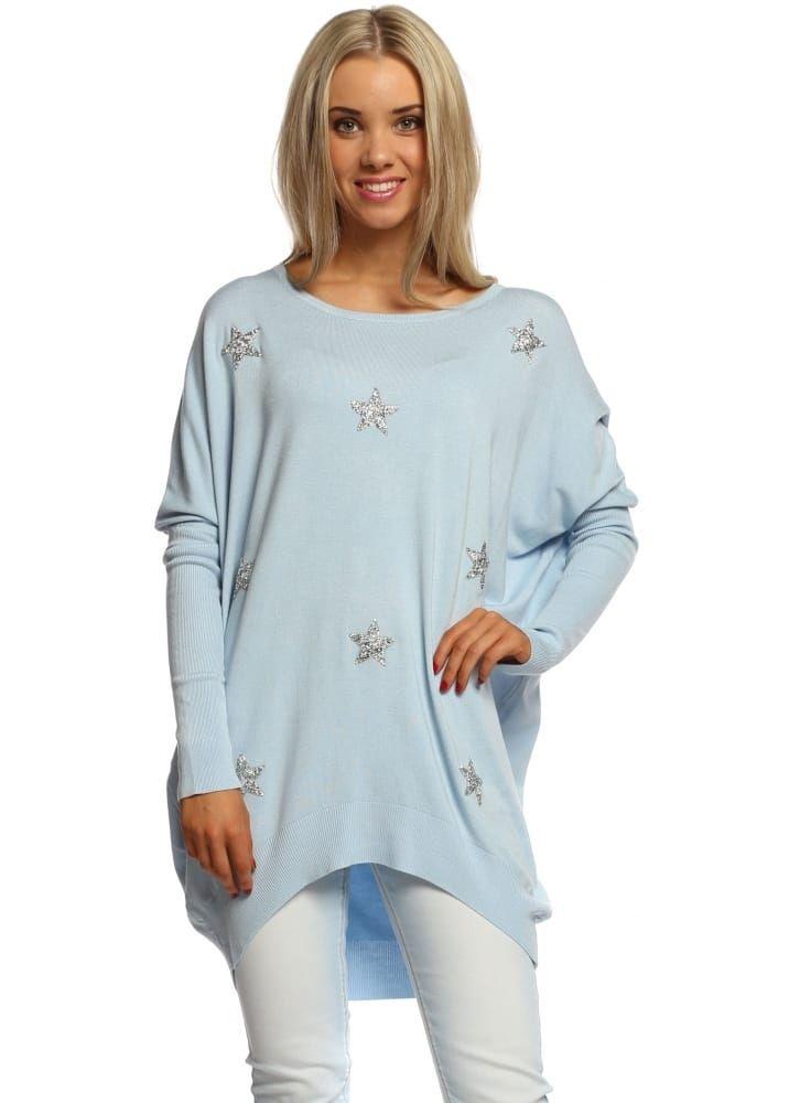 Baby Blue Diamonte Sparkling Stars Oversized Jumper