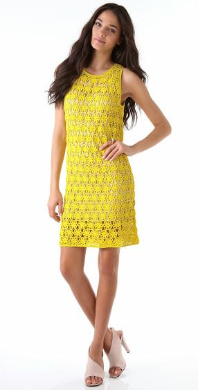 Crochet Dress from Diane von Fürstenberg with some charts.  ☀CQ #crochet #apparel  http://www.pinterest.com/CoronaQueen/crochet-apparel-corona/