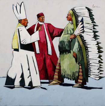 Artist: Thom Ross, Title: Pope Leo XIII, Cardinal Rampolo and Indian Chief at the Vatican - kp