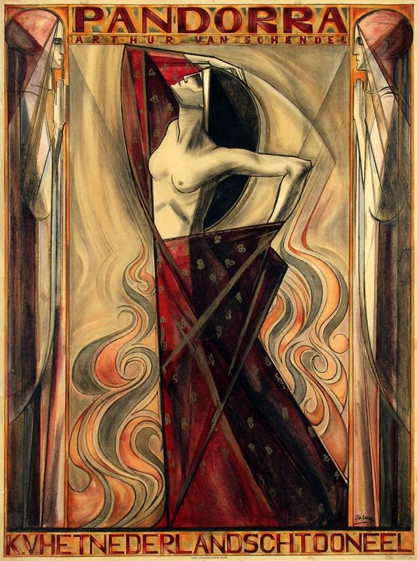 Jan Toorop, Poster for Arthur van Schendel's Play Pandorra, Netherlands, 1919