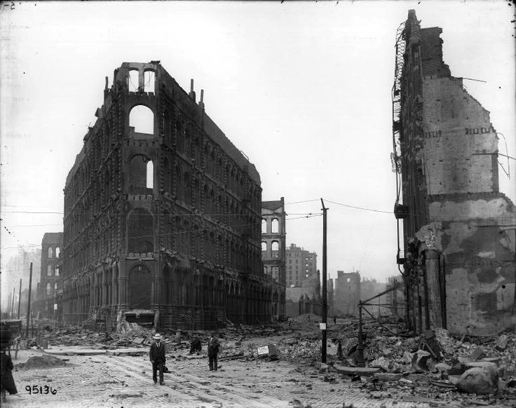 The Great San Francisco Earthquake, 1906. Most buildings in San Francisco were severely damaged or lay in ruins.