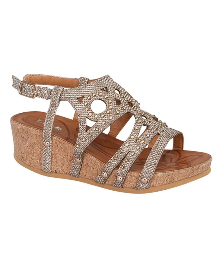 Look at this Link Champagne Shimmer Rene Sandal on #zulily today!