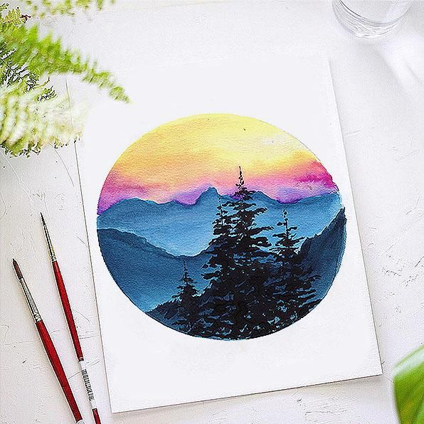 Sunset Mountain Watercolor Kit In 2020 Watercolor Kit