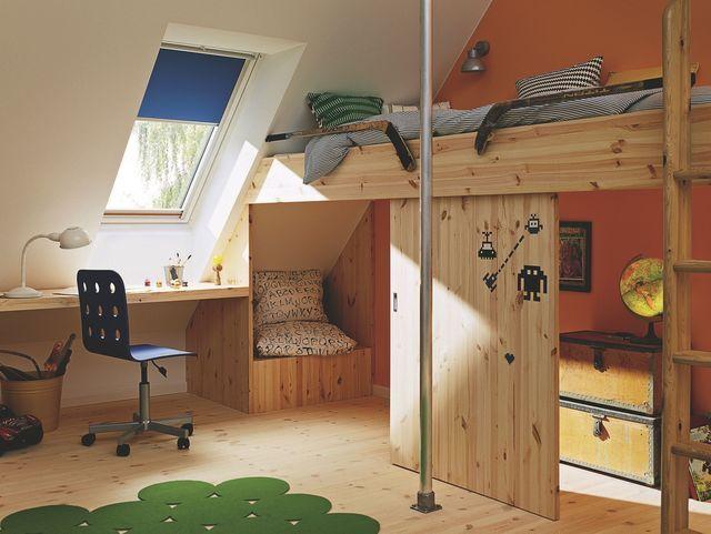 Les 19 meilleures images propos de chambre avec velux sur pinterest chamb - Chambre enfant mansardee ...