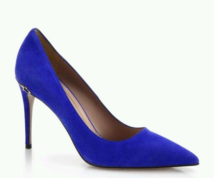 Gucci horsebit blue suede high heel point toe 38 NIB pumps deep zaffiro | eBay