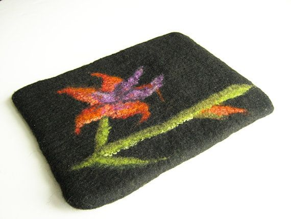 Hand felted Tablet case flower, iPad cover case, black with flower case