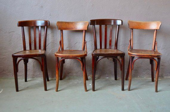 Set Of Mismatched Bistro Chairs Wood Years 50 Bohemian Retro Vintage Kitchen Set Of Mix And Match Chairs Bohemian Beatnik Deco In 2020 With Images Furniture Thonet Chair Restaurant Chairs