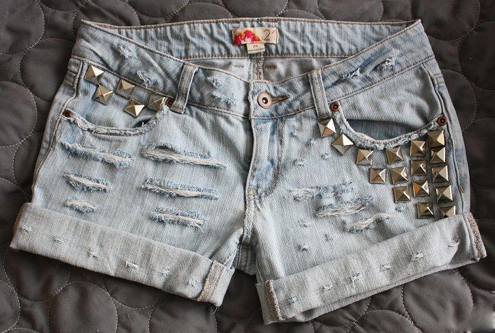 Rivet denim shorts diy. http://diamond-nani.blogspot.fi/