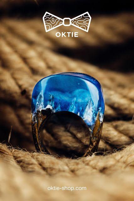 OKTIE - wooden accessories: Snow Blizzard Wooden Resin Ring by OKTIE