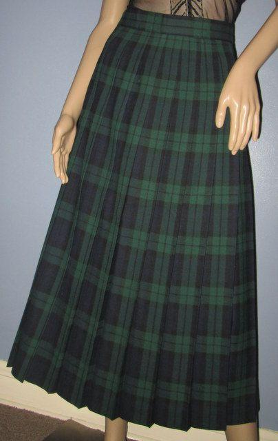 Plaid Skirt. Wool Green and Blue Tartan Plaid by MISSVINTAGE5000