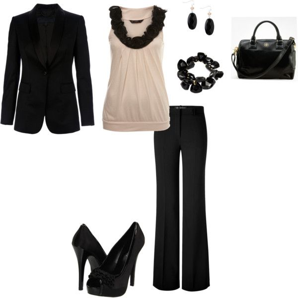 Classy Cream & Black. Chic:)Leather Pur, Work Clothing, Fashion, Casual Outfit, Black And White, Work Outfit, Interview Outfit, Business Casual, Black Pants