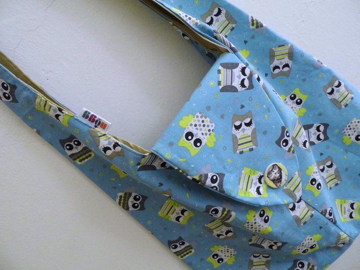 Taška přes rameno sovičková taška přes rameno s podšívkou a vnitřní kapsou, s poklůpkem na knoflík, šířka kabely cca 42 cm, A4 - v pohodě :-)