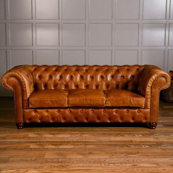 Birley Brown Leather Chesterfield Sofa