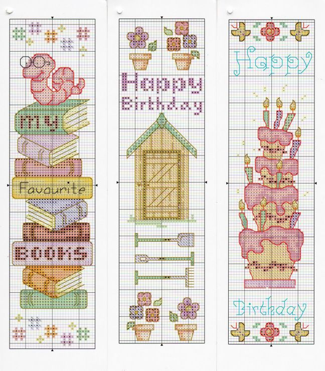 Cross-stitch Bookmark patterns... no color chart available, just use pattern chart as your color guide.. or choose your own colors... Gallery.ru / Photo # 6 - Cross Stitch Crazy 127 August 2009 - tymannost