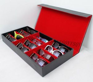 Clever-PU-Leather-portable-box-Sunglasses-Glasses-Display-grid-Storage-Case-Box