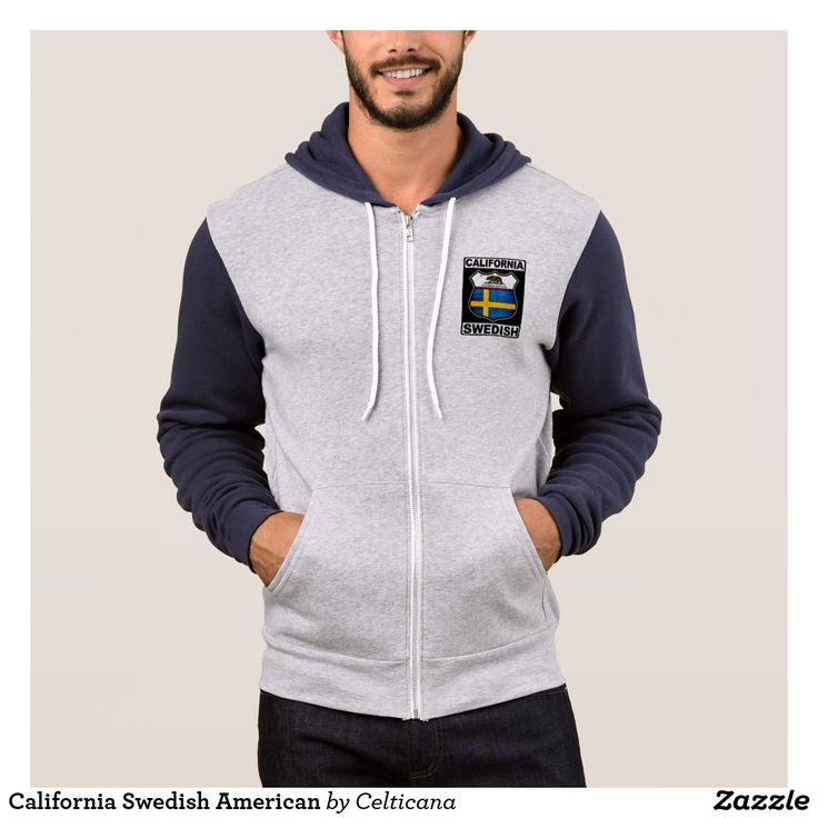 #California #Swedish American Zipper Hoodie. This design is available on a variety of t-shirts, hoodies and other great gift ideas. #SwedishAmerican #Zazzle