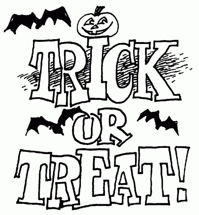 Amazing Trick Or Treat For Halloween Coloring Page