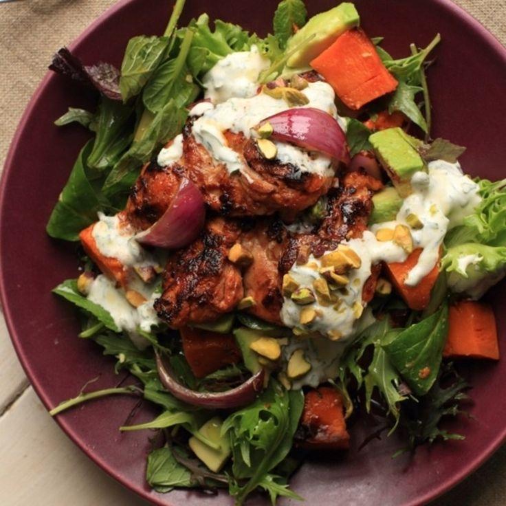 Harissa Chicken, Pumpkin and Avocado Salad with Mint Yoghurt Dressing