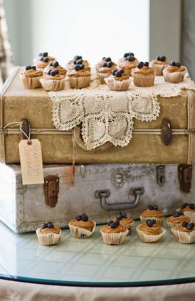 Cupcakes displayed and served from vintage old suitcases for wedding reception table top display; upcycle, recycle, salvage, diy, repurpose!  For ideas and goods shop at Estate ReSale & ReDesign, Bonita Springs, FL