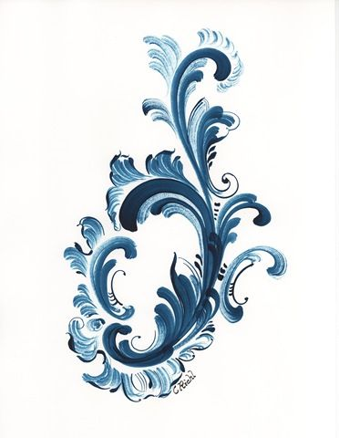 How To Do Rosemaling | Finally, this is inspired by a painted sketch done by Norwegian ...