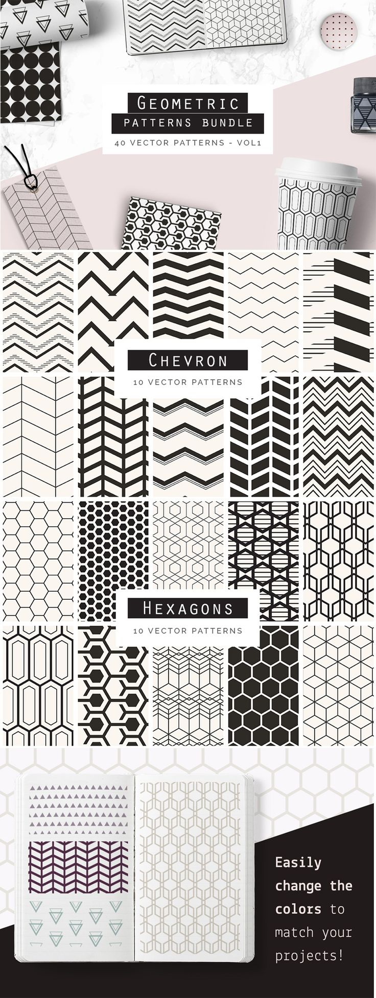 Bundle of #Geometric #Seamless #Patterns