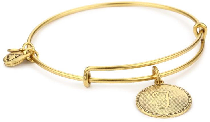 "Alex and Ani ""Bangle Bar"" Rafaelian Gold Finish Bracelet ""F"":"