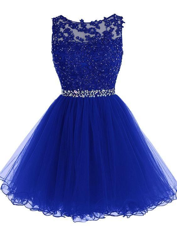Sleeveless Knee Length Homecoming Dress with Lace Bodice Short Semi Formal Occasion Party Dress with Beaded Waist