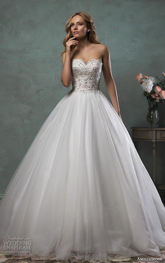 vestidos de novia ampones con pedrería, colección en vestidos de