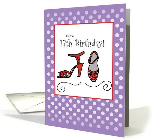 17th Birthday Red Shoes, Purple card (822322)
