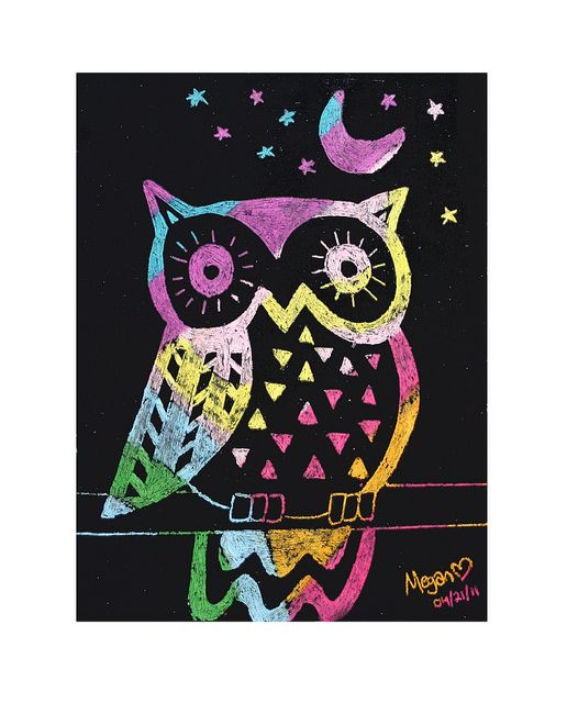 SCRATCH ART OWLS- GRADE 8 by heidabjorg, via Flickr