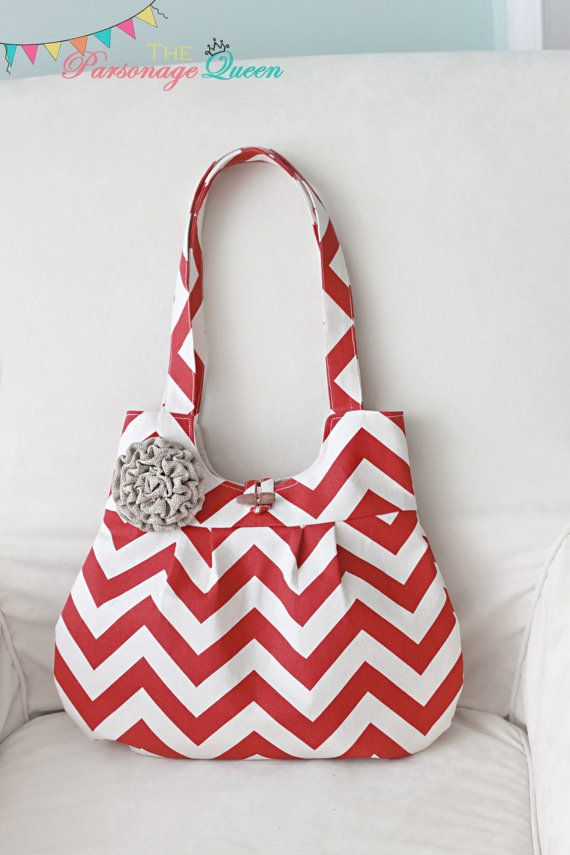 Red and cream chevron shoulder bag, all handmade, and completely lined with natural colored cotton. This purse has a removable burlap flower