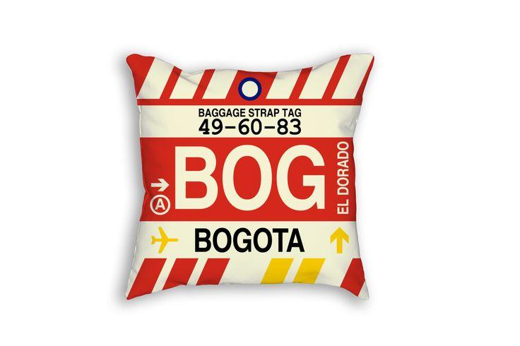 BOG Bogota Airport Code Baggage Tag Pillow