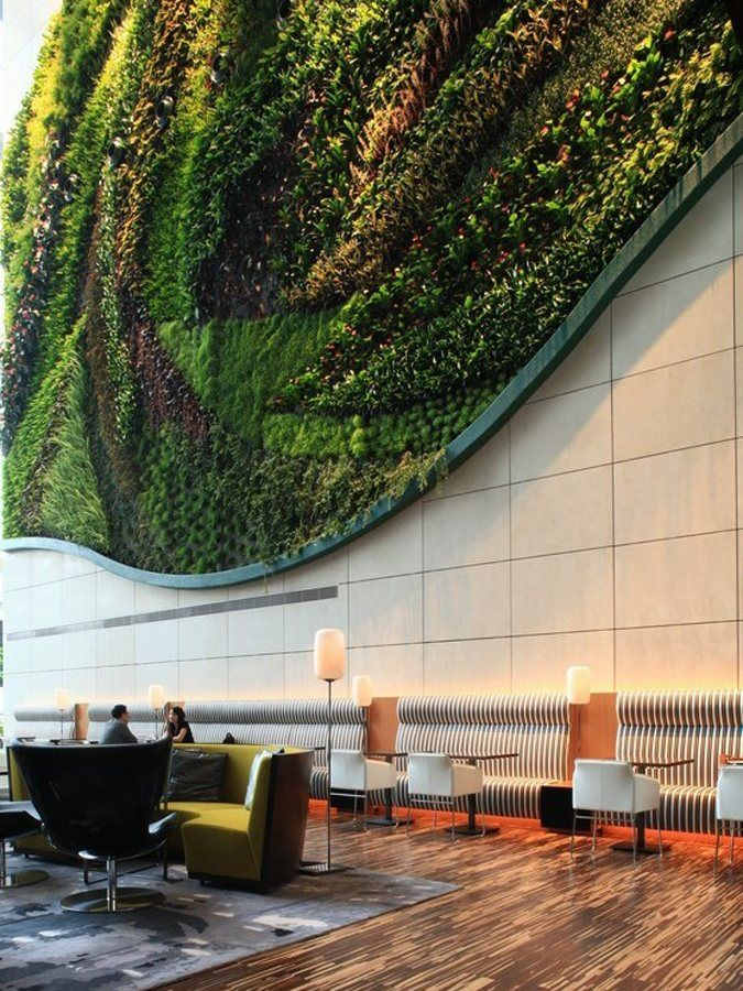 Vertical garden at Hotel Icon Hong Kong luxury boutique hotel Asia