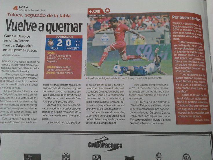 """Noticia extraída del periódico """"Reforma"""" del día 27 de enero del 2014, habla, en general del avanze significativo que tiene el Club deportivo Toluca."""