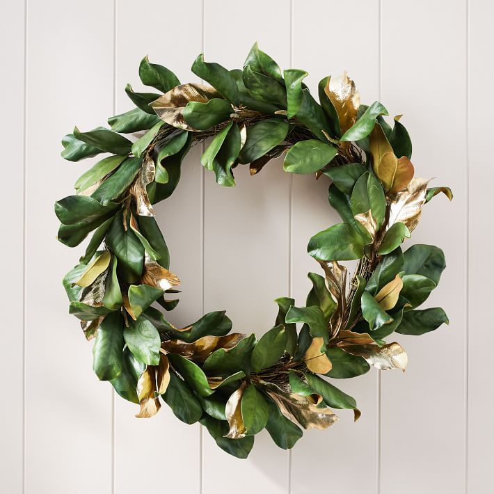 Faux Gold Metallic Magnolia Leaves Wreath Magnolia Leaf Wreath Magnolia Leaves Leaf Wreath