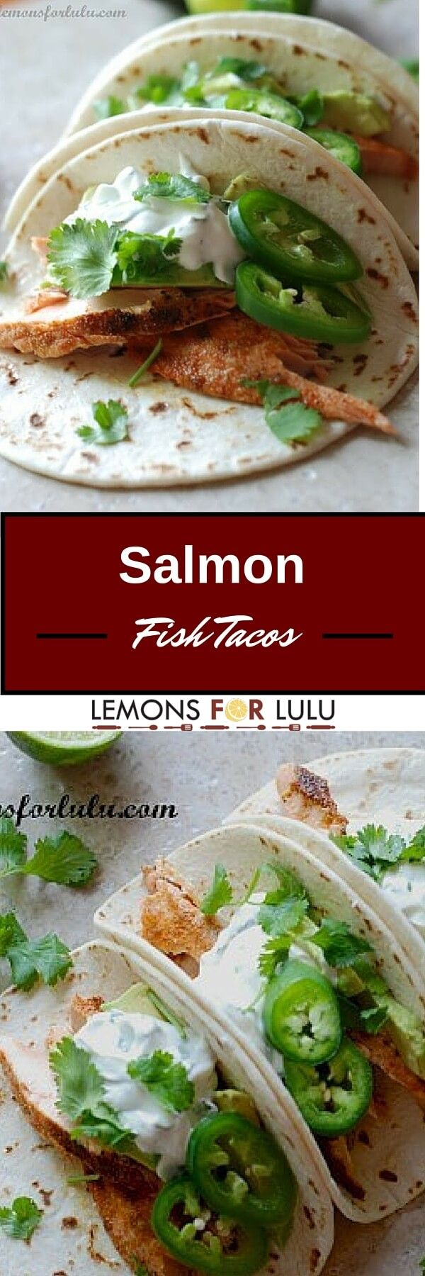 Seasoned salmon fish tacos topped with a creamy jalapeño crema and sliced jalapeños. This simple recipe is light but flavorful and is an easy summer recipe.