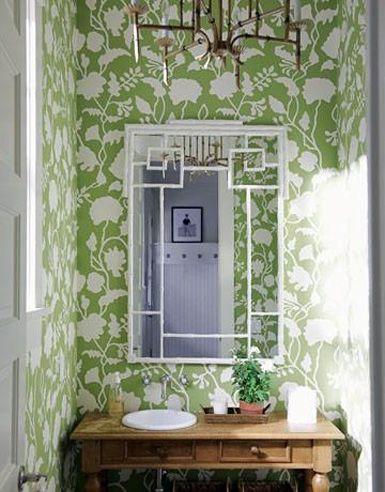 Love the green.: Mirror, Green Wallpapers, Idea, Half Bath, House, Halfbath, Guest Bath, Powder Rooms, Bathroom Wallpapers