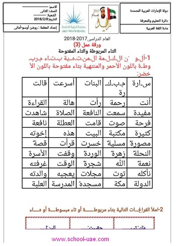 اوراق عمل التاء المربوطة والتاء المفتوحة لغة عربية للصف الثاني الابتدائي الامارات الفصل الثاني2020 Worksheets 2nd Grade Periodic Table
