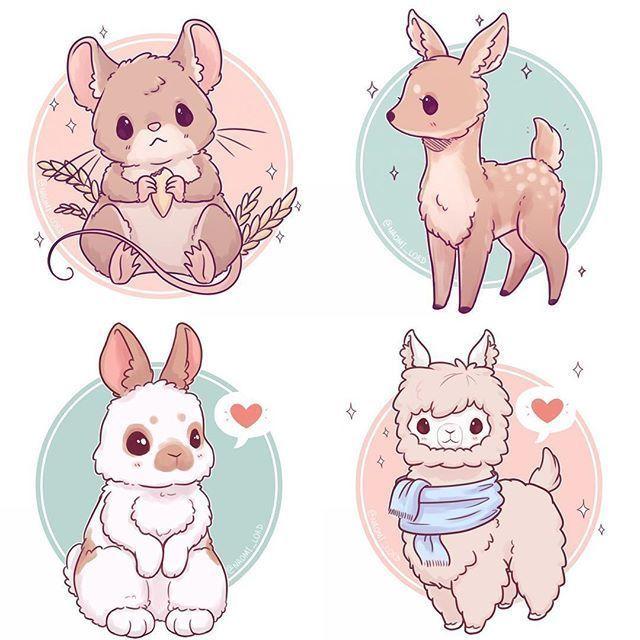 In dieser Abbildung sehen wir vier Tiere (eine Maus, ein Reh, ein Kaninchen, ein